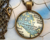 Custom Map Jewelry, Lake Winnepesaukee New Hampshire Vintage Map Pendant Necklace, Personalize, Map Cuff Links, Groomsmen Gifts Ideas