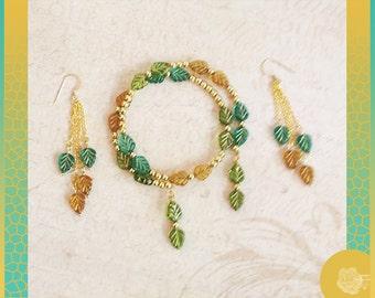 Wrap/Bangle Memory Bracelet Topaz Indicolite Olivene Czech Leaf Beads Gold Markings 4mm Gold Bead Spacers and/or Matchd Chandelier Earrrings