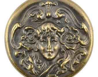 Casting-37mm Art Nouveau Woman-Antique Bronze-Quantity 1