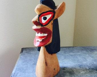Vintage Hand Carved Wooden Figure Porto Seguro Brazil
