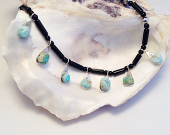 Turquoise and Sterling Silver Dangles Necklace