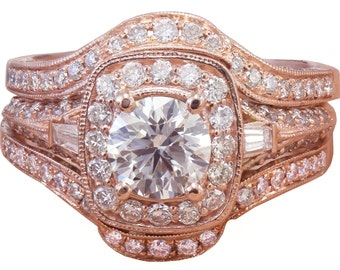 14k Rose Gold Round Cut Diamond Engagement Ring And Bands Halo Filigree 2.50ctw