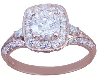 14k Rose Gold Round Cut Diamond Engagement Ring Antique Style Prong 1.95ctw H-SI1 EGL USA