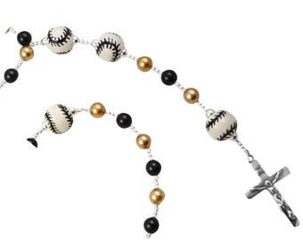 First Communion Baseball Rosary, Black & Gold, Name Pearl Rosary Personalized, Catholic Softball Baptism christenings, godparent gift soccer
