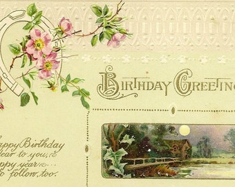 John Winsch Vintage Birthday Postcard – Lucky Horseshoe and Pink Flowers with Moonlight Cottage By the Lake