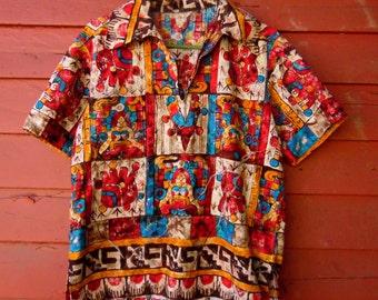 60s Psychedelic Tiki Barkcloth Abstract Pullover Summer Shirt M
