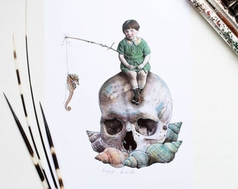 Seashells seahorse and a little Edwardian girl sat on a skull gothic artwork illustrated A4 print