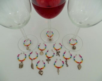Wine charms,wine glass charms, colourful charms,silver charms, wine glass jewelry,wine accesories,wine charm set