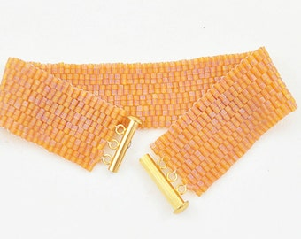 Peyote Bracelet in an Autumn Orange, Beaded Peyote Cuff Bracelet for all Seasons, Unique Wide Fashion Bracelet, Golden Orange Bracelet
