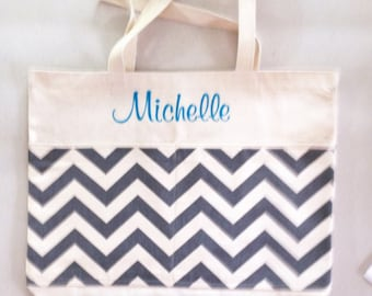 Personalized Chevron Zig Zag Print Extra Large Tote