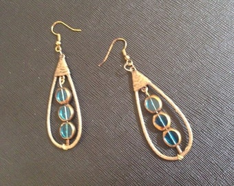 Floating blue ice earrings,lovely dangling earrings, burnished metal earrings,