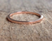 Square Rose Gold Ring Band, Square Ring, 14K Rose Gold Fill Ring, Pink Gold Stackable Ring, Bohemian Ring, Bohemian Jewelry