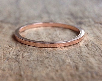 Square Rose Gold Ring Band, Square Ring, 14K Rose Gold Fill Ring, Pink Gold Stackable Ring, Gold Stack Ring, Bohemian Ring, Bohemian Jewelry