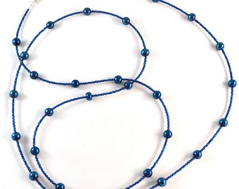 Wrap Around Necklace - Blue- Wrap Necklace - 58 inches