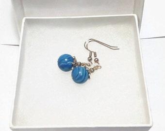 Swirled Blue Polymer Clay Earrings with Silver Bead Caps Hypoallergenic Ear Hooks for Sensitive Ears Little Girl Jewelry