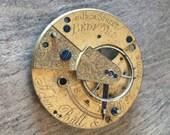 Beautiful Mid - Late 19th Century Fusee Pocket Watch Plate w Beautiful Gilt Brass Balance Cock