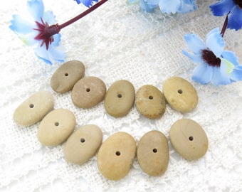 Jewelry Supplies, Center Drilled Beach Stones, Oval Shaped Special Medium Pebbles for DIY 1 mm hole