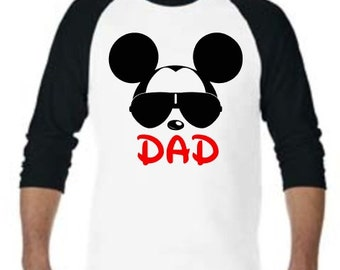 Cool Mickey Dad, Daddy, or Custom Name Parent Disney Black Baseball Raglan Shirts - Cool Mickey Mouse Vacation Family Matching Shirts Dad