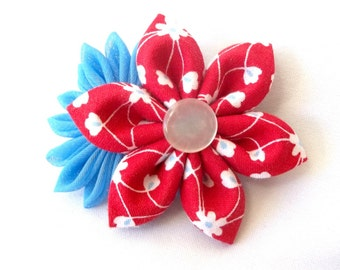 Kanzashi Flower Barrette Red and Blue Hair Flowers Folded Fabric Origami