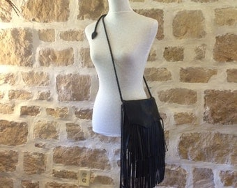 black leather shoulder handbag  with fringe by Tuscada. Ready to ship.