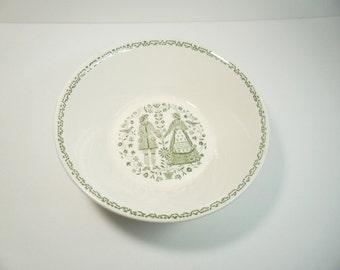 Vintage Royal China Large Bowl Green Amish Friendship Side Serving Bowl