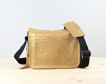 Leather Camera Bag - Gold Embossed Croc Mirrorless Compact Camera System Video Bag - IN Stock