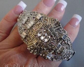 Bridal Bracelet Art Deco Rhinestone cuff bangle wedding bracelet in silver tone metal Great Gatsby style wedding bracelets jewelry gifts