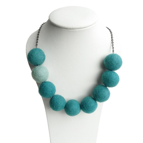 Teal Felt Necklace - Turquoise Chunky Bead Necklace - Aqua Felted Jewelry - Aquamarine Statement Necklaces - Jade Green Fairtrade Jewellery