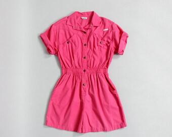Bubblegum Pink Romper M/L • Cotton Romper • 80s Jumpsuit • Summer Romper • Vintage Playsuit • 80s Romper • Dreams Vintage Romper  | D823
