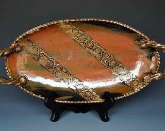 Pottery Serving Platter Ceramic Stoneware Handmade Dish A