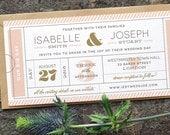 Modern Ticket Wedding Invitation / 'Typography Ticket' Cute Admission Ticket Wedding Invite / Boarding Pass / Blush Nude Gold / ONE SAMPLE