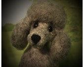 CUSTOM REQUEST Gray Poodle / Felted / Puppy Cut Poodle / Miniature / Figurine