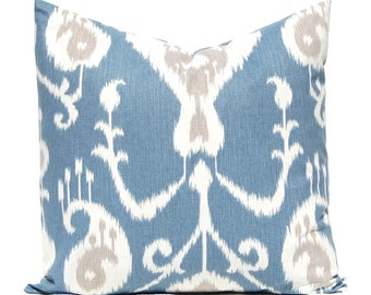 Ikat Pillow Cover - Blue Pillow Cover - Throw Pillow Cover - Decorative Pillow Cover - Deep Ocean Blue -  Same Fabric Front Back