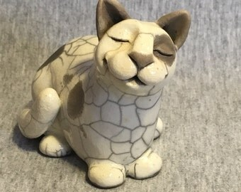 Smiles Unlimited spotted Cat Kitten ceramic raku sculpture