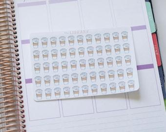 55 Coffee Cup Hand Drawn Planner Stickers, Perfect for Erin Condren, Happy Planner, Kikki K, Plum Paper, Filofax, inkwell press