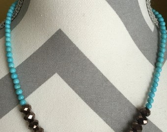 Hand beaded necklace, choker, beaded choker, statement necklace, wedding jewelry, turquoise necklace