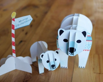 Cut Out and Make Christmas Polar Bears