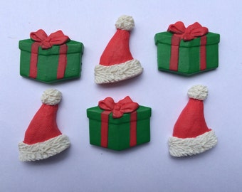 Christmas Themed Magnets / Santa Hat & Gift Magnets / Set of Six Holiday Magnets / Fun Magnets / Christmas Magnets