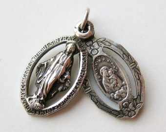 Vintage Sterling Silver Immaculate Heart of Mary Slide Necklace Pendant