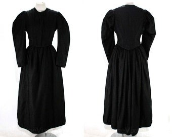 1880s Victorian Dress Set - Size 10 Black Wool Brocade Bodice & Full Skirt - Beautiful Authentic Antique - Home Sewn - Bust 38 - 47346