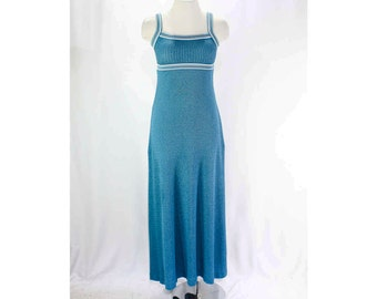 XXS Teal Blue Dress - Sexy 1970s Vivid Dark Blue Knit Strappy Summer Sun Dress - 70s Maxi Length - Empire Bust - Size 000 - Bust 30 - 45871