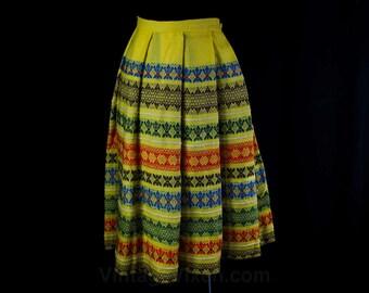 Size 8 Alpine Skirt - 1950s Yellow Wool Pleated Full Skirt - Blue Orange Green Stripes - 50s Made in Austria - Waist 26.5 - 46078