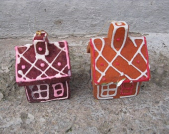 sytrofoam gingerbread houses set of 2 made in japan mid century christmas kitsch