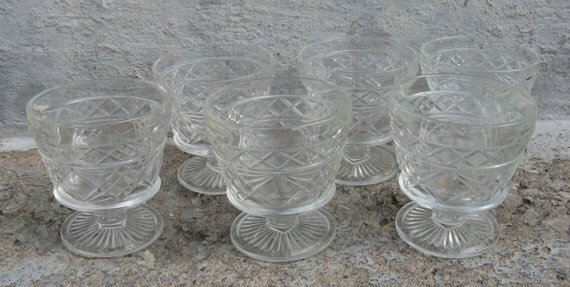 hazel atlas big top peanut butter footed sherbet glasses set of 6 pressed diamond pattern