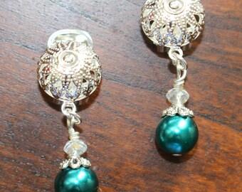 Clip On Earrings Teal Pearl Silver Clip On Earrings