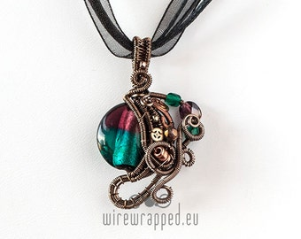 OOAK Purple and teal steampunk wire wrapped pendant