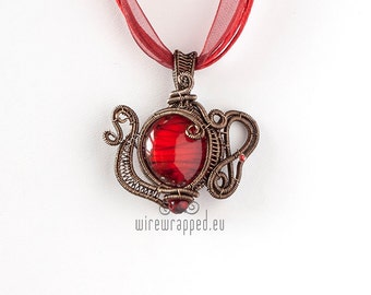 OOAK Red teapot wire wrapped pendant