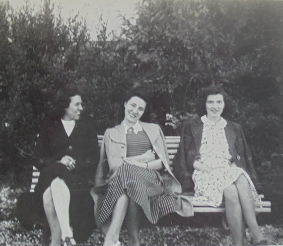 1940's French Photo - Three Women Sat Outside On a Bench