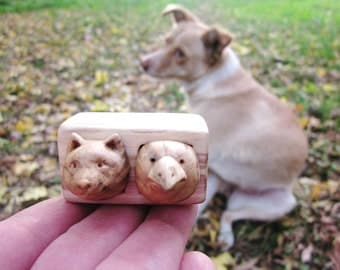 Custom pet portraits, wood carving, wood box, earrings box, stud earrings box, Jewelry box, animal carving, Personalized Gifts