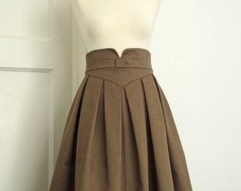 Box pleat skirt, tea length skirt, retro chic, pleated skirt, full skirt, taupe skirt, V shaped waistband made to measure//sizes XS-XL